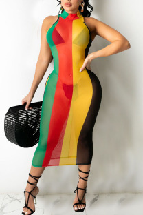 Multicolor Sexy Striped Print Split Joint Swimwears Cover Up