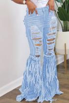 Light Blue Denim Zipper Fly Mid Tassel Hole Old Straight Pants Bottoms