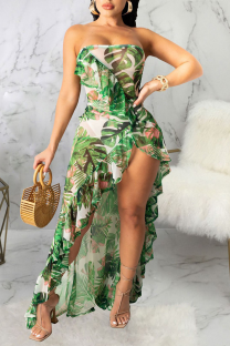 Green Sexy Print Split Joint Swimwears Cover Up