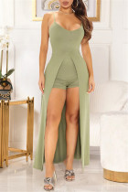 Light Green Fashion Sexy Solid Backless Slit Spaghetti Strap Sleeveless Two Pieces