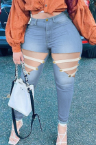 Light Blue Fashion Casual Patchwork Hollowed Out Plus Size Jeans
