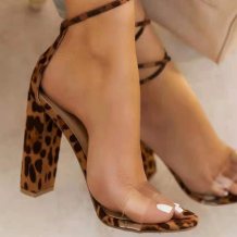 Leopard Print Sexy Street Hollowed Out Split Joint Opend Out Door Shoes