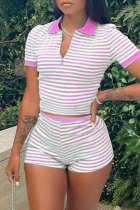 Pink Fashion Casual Striped Print Turndown Collar Short Sleeve Two Pieces