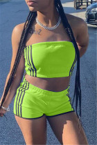 Fluorescent Green Sexy Casual Striped Split Joint Backless Strapless Sleeveless Two Pieces