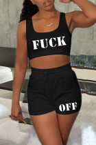 Black Sexy Casual Letter Print Vests U Neck Sleeveless Two Pieces
