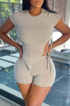 Light Gray Fashion Casual Solid Bandage Asymmetrical O Neck Short Sleeve Two Pieces
