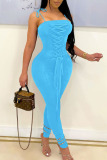 Blue Sexy Solid Bandage Split Joint Spaghetti Strap Skinny Jumpsuits