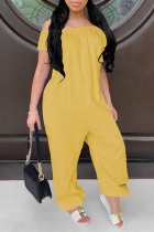 Yellow Casual Solid Split Joint Off the Shoulder Harlan Jumpsuits