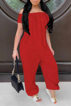 Red Casual Solid Split Joint Off the Shoulder Harlan Jumpsuits