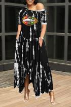 Black Casual Print Split Joint One Shoulder Irregular Dress Dresses