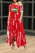 Red Casual Print Split Joint One Shoulder Irregular Dress Dresses