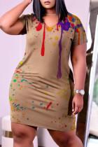 Brown Fashion Casual Print Basic V Neck Short Sleeve Dress