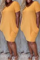 Khaki Fashion Casual Plus Size Solid Pocket V Neck Short Sleeve Dress
