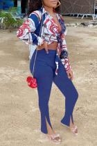 Royal Blue Fashion Casual Print Bandage Slit Turndown Collar Long Sleeve Two Pieces