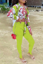 Apple Green Fashion Casual Print Bandage Slit Turndown Collar Long Sleeve Two Pieces
