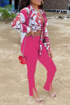 Rose Red Fashion Casual Print Bandage Slit Turndown Collar Long Sleeve Two Pieces