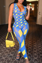 Yellow And Blue Sexy Print Split Joint V Neck Skinny Jumpsuits