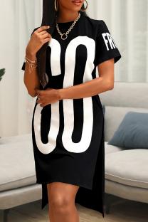 Black Casual Print Slit O Neck Straight Plus Size Dresses