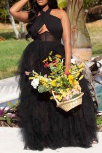 Black Sexy Solid Mesh Halter Mesh Dress Dresses