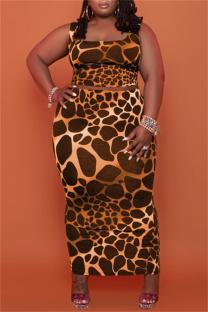 Orange Sexy Casual Print Vests Square Collar Plus Size Two Pieces
