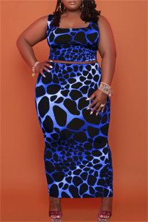 Blue Sexy Casual Print Vests Square Collar Plus Size Two Pieces