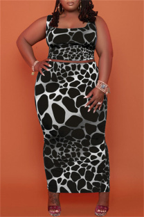 Black Sexy Casual Print Vests Square Collar Plus Size Two Pieces