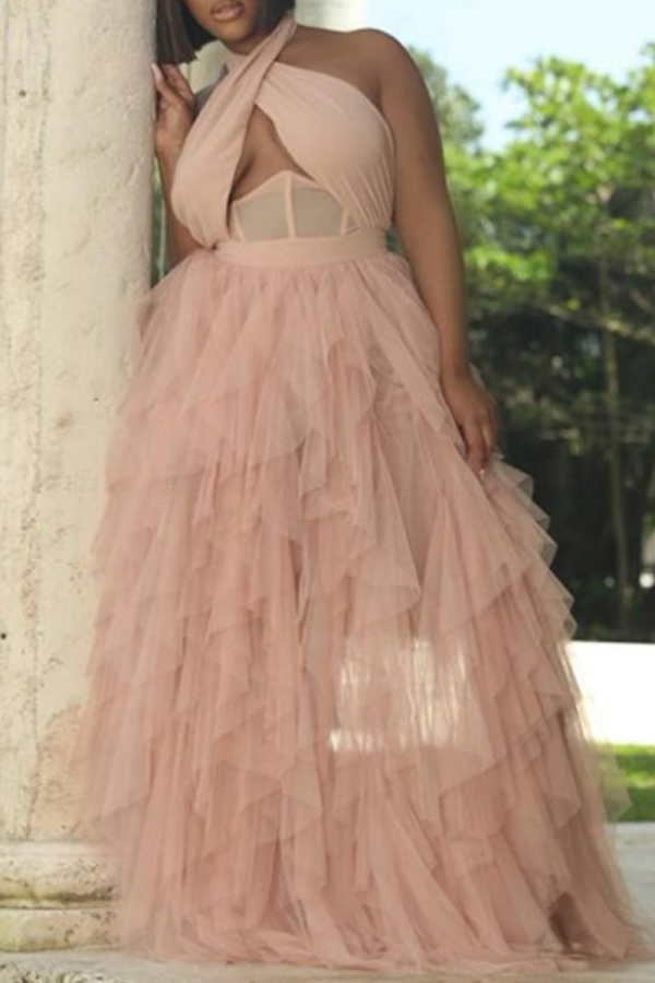 Pink Sexy Solid Mesh Halter Mesh Dress Dresses