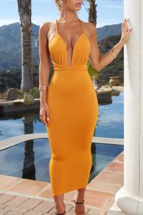 Orange Sexy Solid Bandage Split Joint Spaghetti Strap Pencil Skirt Dresses