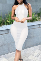 White Sexy Solid Mesh Halter Pencil Skirt Dresses