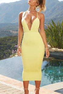 Yellow Sexy Solid Bandage Split Joint Spaghetti Strap Pencil Skirt Dresses