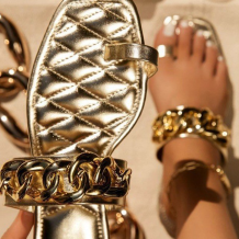 Gold Casual Street Hollowed Out Split Joint Chains Opend Out Door Shoes