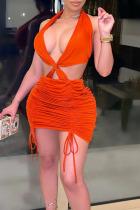Red Sexy Solid Split Joint Frenulum Fold Halter Pencil Skirt Dresses