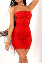 Red Sexy Solid Hollowed Out Split Joint Strapless Pencil Skirt Dresses
