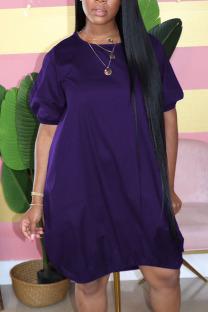 Purple Casual Solid Split Joint O Neck Lantern Dress Plus Size Dresses