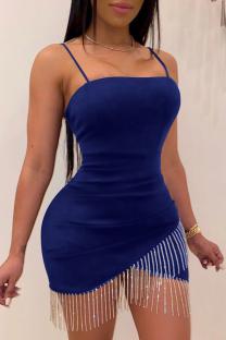 Royal Blue Sexy Solid Tassel Spaghetti Strap Irregular Dress Dresses