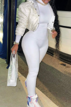 White Casual Solid Half A Turtleneck Skinny Jumpsuits