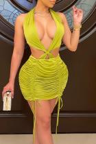 Yellow Sexy Solid Split Joint Frenulum Fold Halter Pencil Skirt Dresses