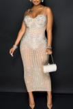 Black Fashion Sexy Hot Drilling See-through Spaghetti Strap Sling Dress