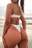 White Sexy Solid Split Joint Chains Swimwears