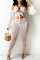 White Sexy Solid Hollowed Out Split Joint Frenulum See-through Halter Irregular Dress Dresses