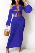 Blue Sexy Solid Hollowed Out Split Joint Frenulum See-through Halter Irregular Dress Dresses