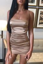 Khaki Sexy Solid Split Joint Spaghetti Strap Pencil Skirt Dresses