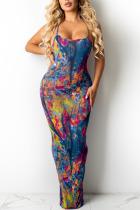 Blue Sexy Print Split Joint Spaghetti Strap Sling Dress Dresses