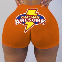 Orange Sexy Print Split Joint Straight Straight Positioning Print Bottoms