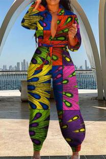 Multicolor Fashion Casual Print Basic Turndown Collar Regular Jumpsuits