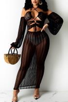Black Sexy Solid Hollowed Out Split Joint Frenulum See-through Halter Irregular Dress Dresses
