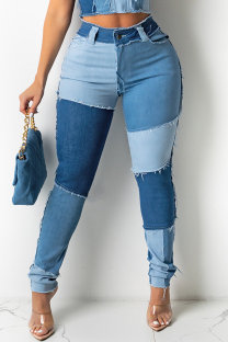 Blue Fashion Casual Patchwork Basic High Waist Regular Jeans