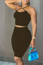 Black Sexy Casual Solid Backless Halter Sleeveless Two Pieces
