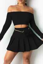 Black Sexy Solid Split Joint Off the Shoulder Long Sleeve Two Pieces