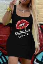 Black Fashion Casual Letter Lips Printed Vests U Neck Sleeveless Dress